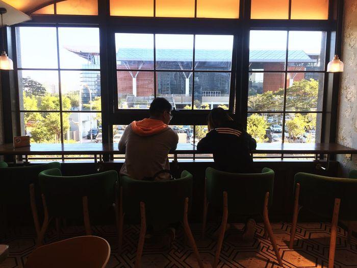 如果我变成回忆 Window Chair Indoors  Real People Restaurant Sitting Cafe