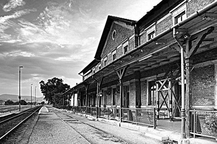 Trainyard Train Black And White Blackandwhite Oldbuilding