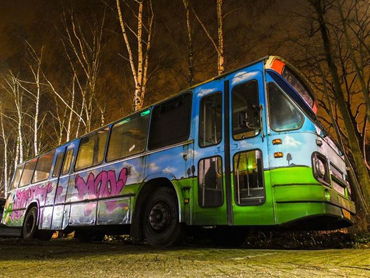 The night bus - This bus was at a car dealers backyard and when I ran by it I couldn't resist not to inspect it closer. Bus Graffiti Thehague  Night