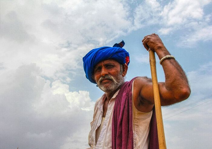 The Portraitist - 2015 EyeEm Awards Rular Cowboy Color Portrait Clouds And Sky Attitude Style Mustache Shepherd Indian Man with traditional village costume, very hard daily life