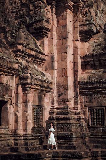 Full length of man outside temple against building