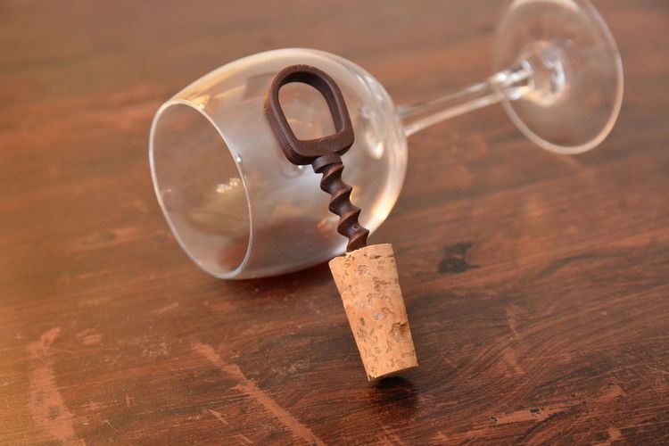wine glass and corkscrew Wine Cork Table Wood - Material Cork - Stopper No People Indoors  Close-up