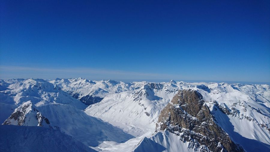 Alps Mountains Blue Sky View View From Above Beautiful Nature Panorama Landscape Sky Scenics Mountain Range Blue