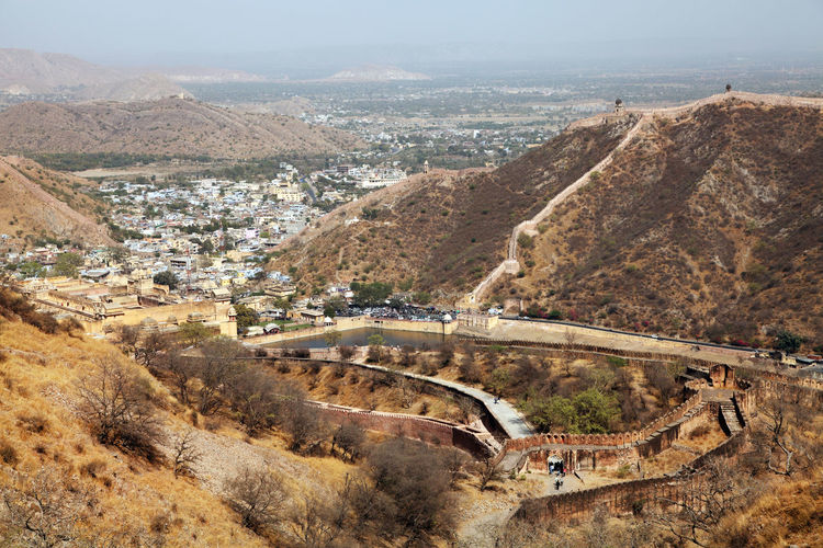 High angle view of jaigarh fort by mountain