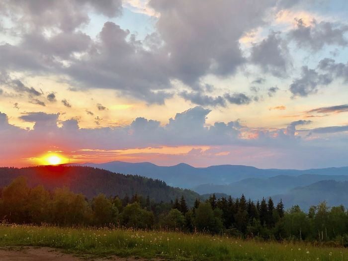 Sonnenuntergang über dem Schwarzwald Beauty In Nature Scenics - Nature Sky Cloud - Sky Tranquil Scene Tranquility Sunset Landscape Orange Color Nature Land No People Tree Idyllic Mountain Range