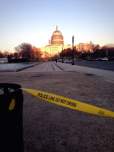 Crime Scene Police Capitol Washington, D. C. Government Government Building Police Line Do Not Cross Warning Yellow Tape National Mall Congress Politics USA Law Enforcement
