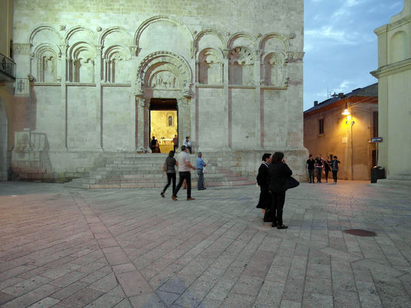 Piazza with the cathedral of Termoli Cathedral Square Termoli  Arch Architecture Building Exterior Built Structure Catherdral City Floor Full Length Italy Men Molise Outdoors Pavement People Real People Sunset Termoli City Travel Destination Women