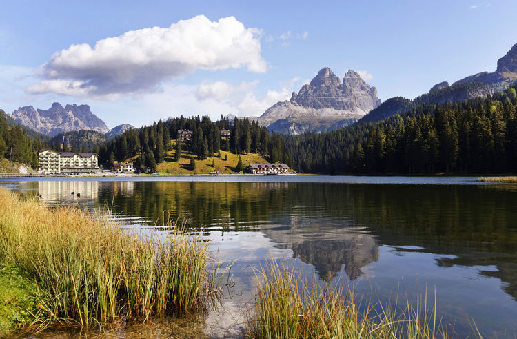 Autumn Colors Beauty In Nature Day Dolomites, Italy Forest Hotel Misurina Lake Mountain Nature No People Outdoors Pine Tree Scenics Sky Tre Cime Di Lavaredo Water