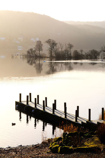 Lake District Lake District National Park Peace And Quiet Pier Beauty In Nature Bird Cold Temperature Day Fog Jetty Jetty View Lake Nature No People Outdoors Peaceful Reflection Scenics Sky Tranquil Scene Tranquility Tree Water Winderemere Wooden Post