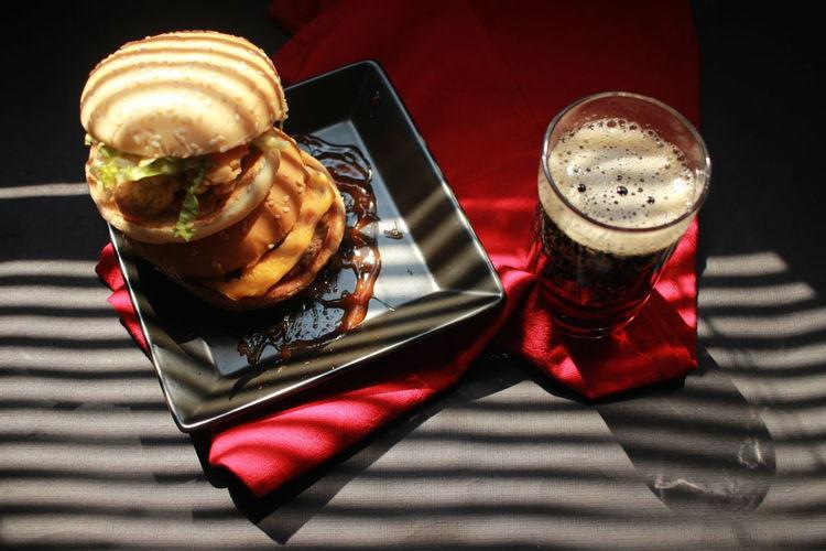 Delicious burgers and colas