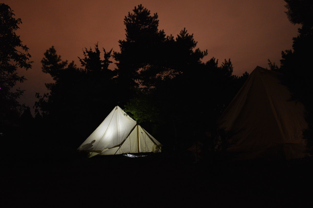 Tent against silhouette trees on landscape