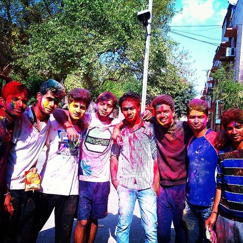 Hahahahaha... Funny Faces... Happy Holi To All Of You Friends... Colour Red Green Blue Calibration With Friends Multy Colour Hpy Holi Followme FollowBackForever SonuPhotography