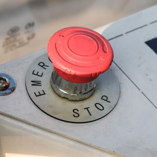 Close-up of stop button