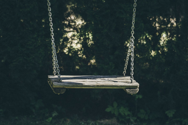 Close-up of empty swing Kids Swinging Chain Close-up Day Empty Focus On Foreground Hanging Kid Lake Land Metal Nature No People Old Outdoor Play Equipment Outdoors Plant Playground Rope Rope Swing Sunlight Swing Swings Tree