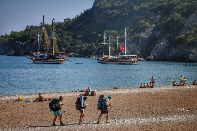 The Following Mountaineers Walker Walkers Rota Antalya Olympos Beach Beachphotography Beach Photography Mediterranean  Turkey Sea Mediterranean Sea People Photography