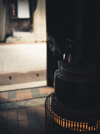 Close-up of kettle on stove at home