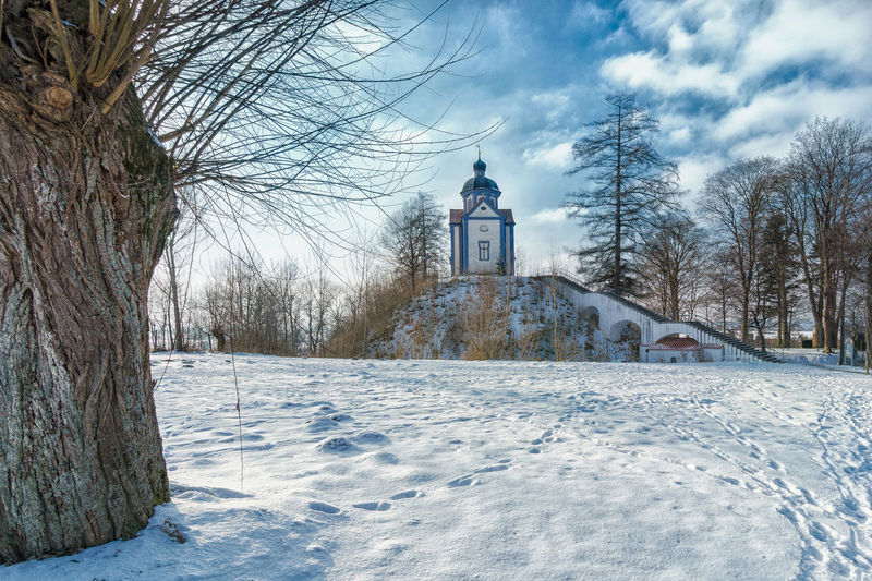 Architecture Beauty In Nature Chapel Cold Temperature Day Landscape Nature No People Outdoors Religion Scenics Sky Snow Tranquility Tree Winter