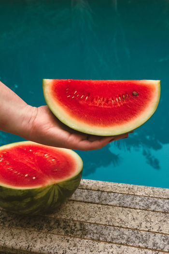 Small watermelon by the pool