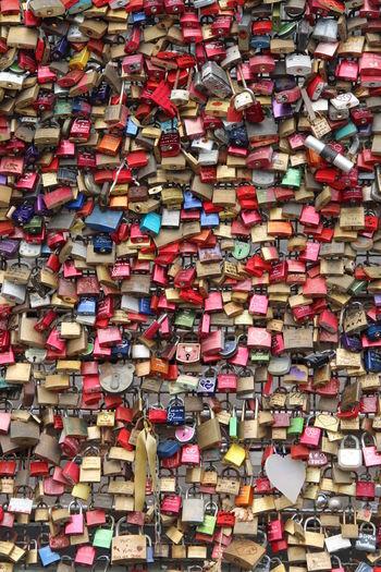Full frame shot of multi colored padlocks