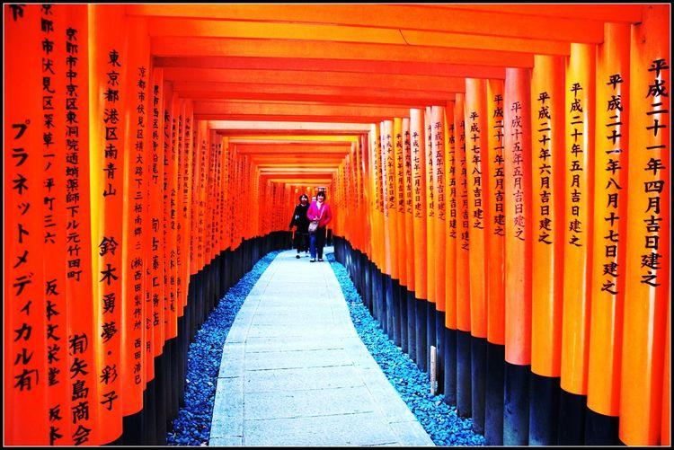 Amazing Architecture Fushimi Inari Taisha Fushimi-ku Japan Japanese  Kyoto Leisure Activity Lifestyles Modelling Multi Colored Orange Color Outdoors Patronage Script Travel Photography Worship