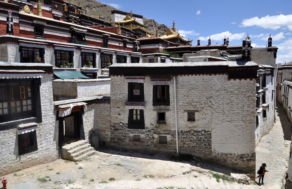 Tibetan buddhist monastery in Shigatse Architecture Buddhist Monastery Day Monastery Outdoors Shigatse Sky Temple Tibet Tibet Travel Tibetan  Tibetan Buddhism Tranquility Travel Travel Destinations