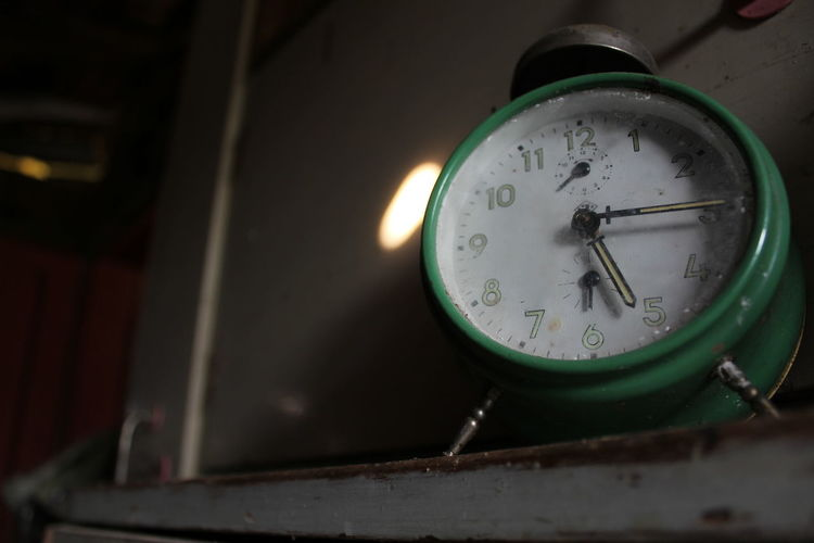 Close-up of clock in factory