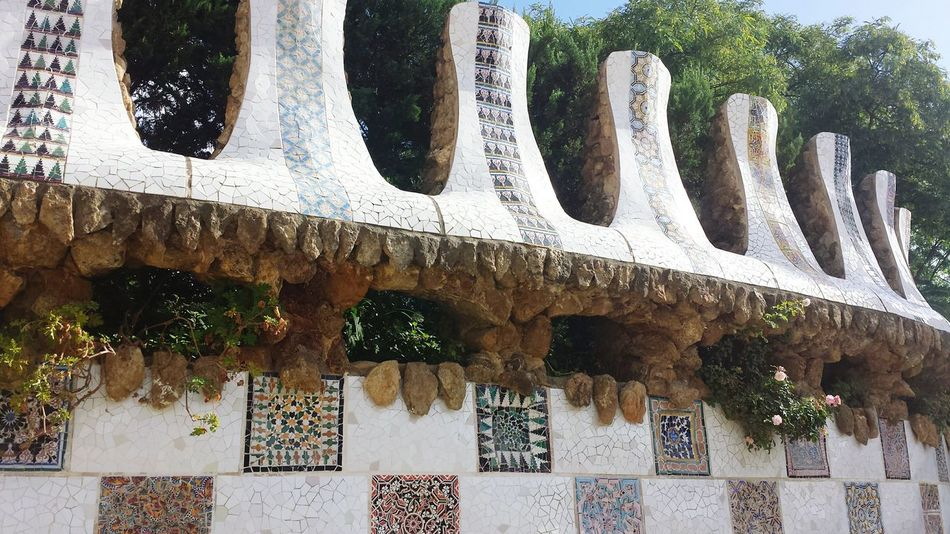 Colorful Shards Barcelona Park Guell Taking Photos Relaxing View Beautiful Day Have A Lot Of Fun  Enjoying This Beautiful Wheather Wow!