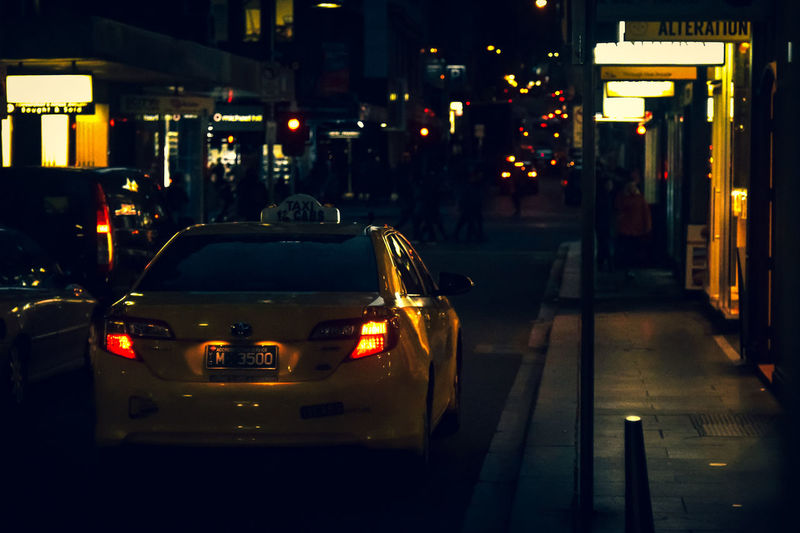TAXI! HUAWEI Photo Award: After Dark City Car Yellow Taxi Tail Light Taxi Land Vehicle Traffic Vehicle Avenue
