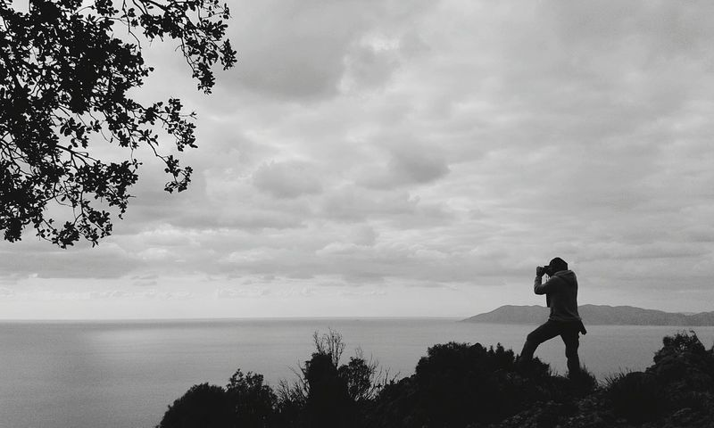 Being a Photograph While Shooting A Photo One Man Only Nature Cloud - Sky Naturelovers Landscape Black & White Black And White Photography Sea And Sky B&w Nature Turkey