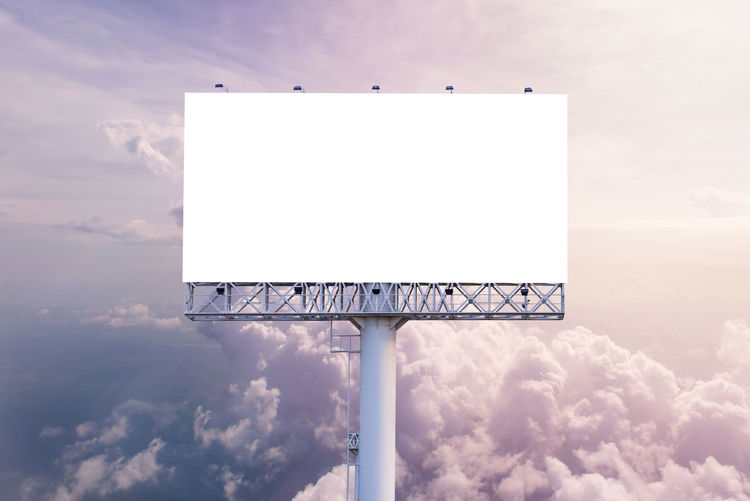 Advertisement Architecture Billboard Blank Built Structure Cloud - Sky Communication Copy Space Day Empty Geometric Shape Low Angle View Marketing Message Nature No People Outdoors Shape Sign Sky Sport White Color