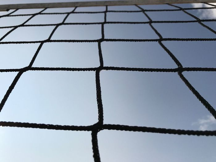 Volleyball net, blue sky, over the net, sports, outdoors, Pattern Close-up