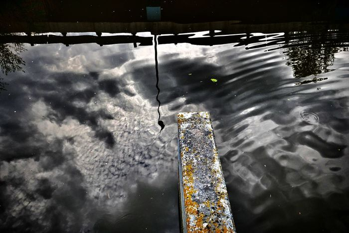 Reflections are cool. Reflection Water Reflections Sky And Clouds Clouds And Sky Water Ripples Moss Upside Down Grayscale Walking Around Streetphotography