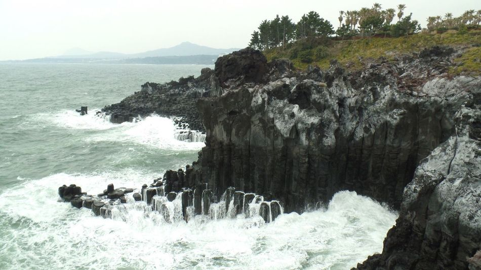 Travel Korea JEJU ISLAND  Jusangjeollicliff Waves, Ocean, Nature