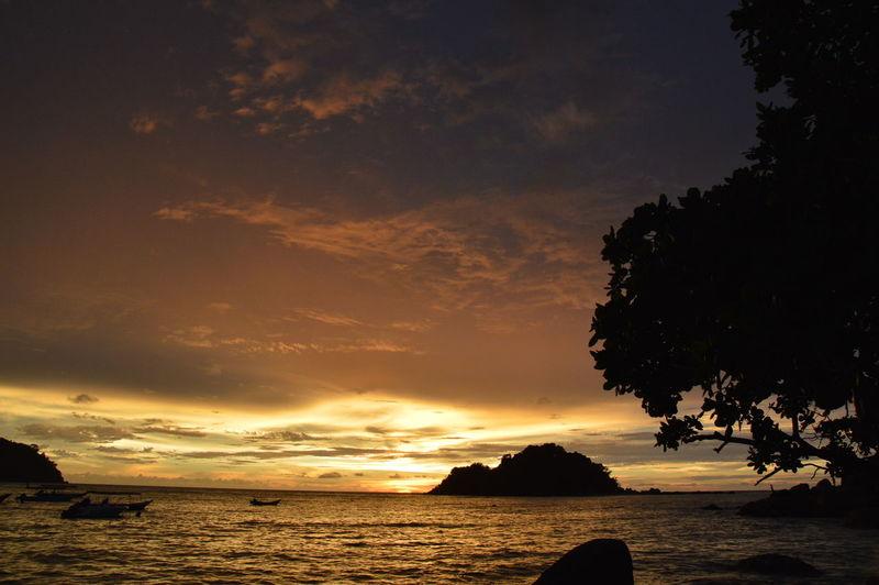 Malaysia Orange Color Pangkor Remote Scenics Sea Sky Sunset Travel Destinations Water