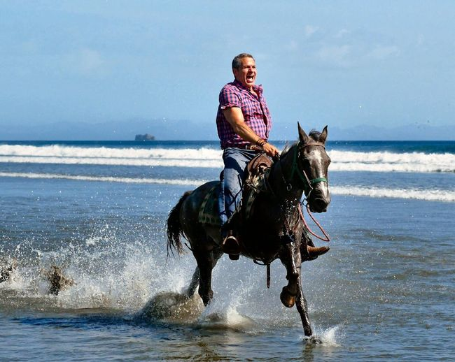 Horsing around with Rancho Chilamate on the beach in Nicaragua. Waves, Ocean, Nature Epic Ride Horsing Around Beach Beachphotography Water Fun Horses Horseback Riding One Person Riding Lifestyles Nature Beach Animal Land Leisure Activity