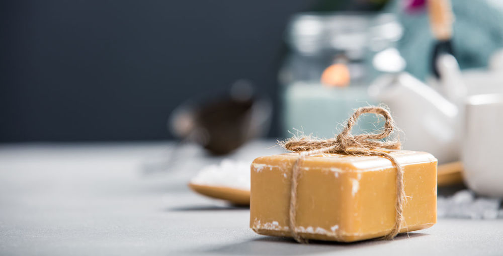 Close-up of soap on table