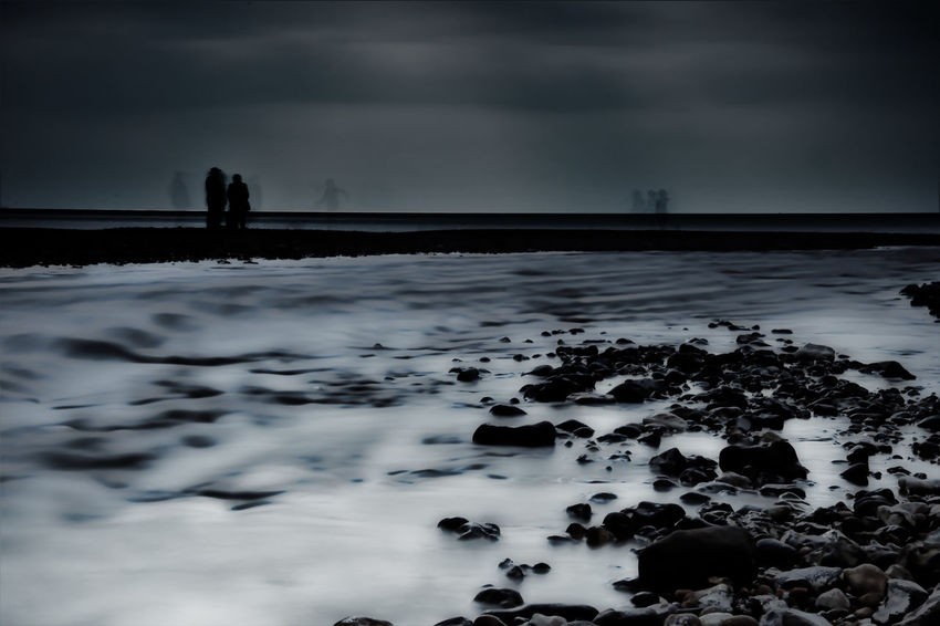 Beach Beauty In Nature Cloud - Sky Cold Temperature Day Ghost Ghosts Horizon Over Water Life On Mars Long Exposure Monochrome Monotone Nature Outdoors Reflection Scenics Sea Silhouettes Silver  Sky Snow Water Winter