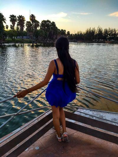 Laguito Matamoros Tamaultimas Matamoros Laguito Water Young Women Full Length Women Standing Females Rear View Sea Sky