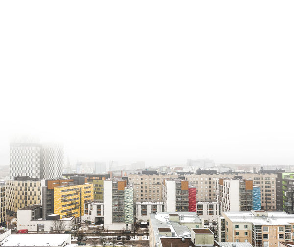 Misty Morning Misty Morning Fog Settlement Snowing Apartment Office Building Exterior Skyscraper High Angle View City Life Outdoors Nature Day Cityscape Clear Sky No People Residential District Copy Space Sky Building City Architecture Built Structure Building Exterior Drone Photography Drone