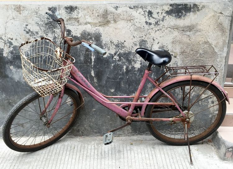 Bicycle at Dapeng Ancient Village - Shenzhen, China Wall - Building Feature Bicycle Bicycles Cycle China Dapeng Shenzhen Wheels Old Bicycle Bicycle Wheels Chinese Village Rusty Ancient Village Village Retro Old Style Old Bike Dapeng Ancient Village Chinese Bicycle Wheel Wheel Bicycling