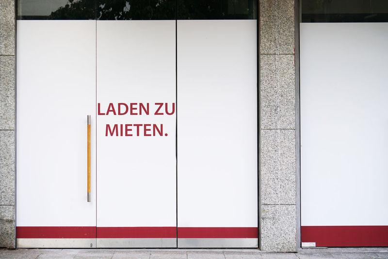 Text on white door