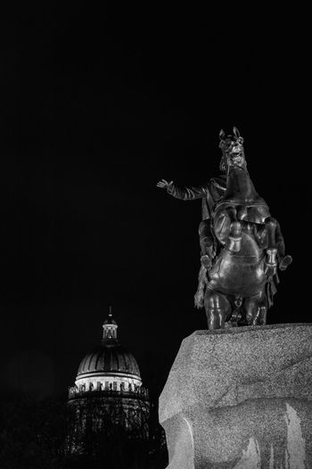 Bronze horseman monument and Saint Isaac's Cathedral in Saint Petersburg at night Black And White Bronze Horseman Cathedral Cityscape Dome Emperor Famous Place History Horse International Landmark Monument Night Night Photography Peter The Great Russia Saint Isaac's Cathedral Saint Petersburg Sculpture Tourism Travel Destinations Traveling Tsar
