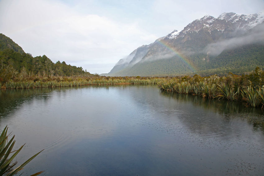 Fiordland National Park Milford Sound New Zealand Beauty New Zealand Scenery Wintertime Beauty In Nature Day Fiordland Lake Mountain Mountain Range Nature New Zealand No People Outdoors Rainbow Reflection Scenics Sky Tranquil Scene Tranquility Tree Water Waterfront