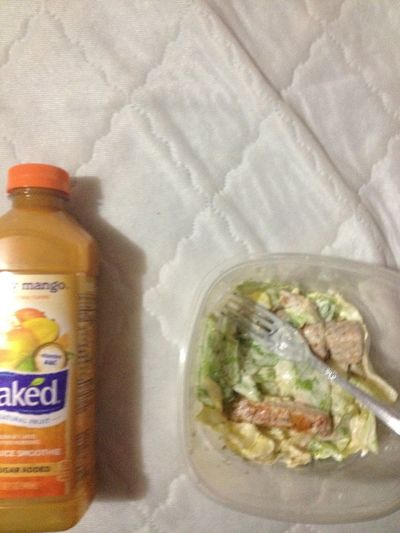 Buffalo Chicken Salad And Mango Smoothie.
