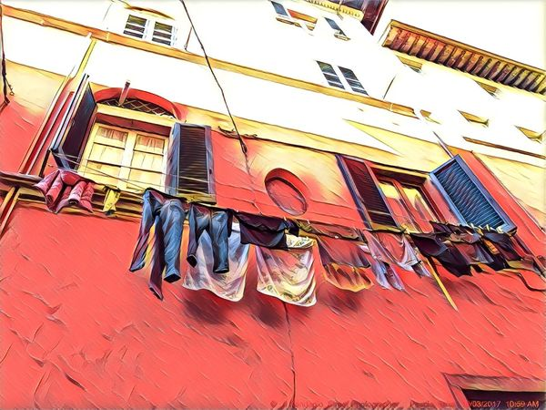 Window Building Exterior Hanging Multi Colored Laundry Clothesline No People Low Angle View Architecture Drying Built Structure Day Outdoors