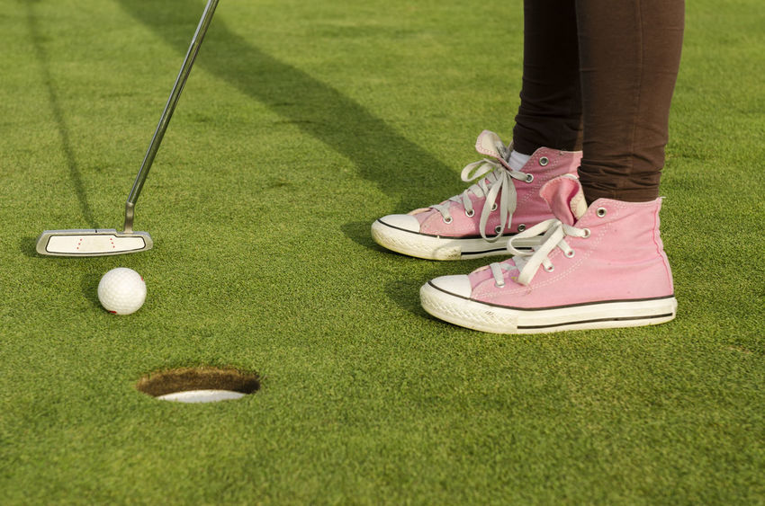 Final shot, Golf Canvas Shoes Casual Clothing Day Field Footwear Golf Golf Golf ⛳ Grass Grassy Green Green Color Hole Lawn Leisure Activity Lifestyles Outdoors Part Of Pink Playing Sport Teenage Mutant Ninja Turtles  Unrecognizable Person