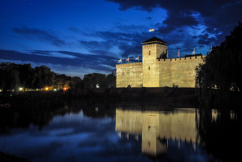 Hungary Wall Architecture Building Exterior Built Structure Fortress Lake Landscape Nature Night No People Outdoors Reflection Sky Water