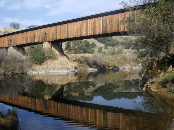 Architecture Bridge - Man Made Structure California Cloud - Sky Covered Bridge Day Fall Footbridge Ghost Town GOLD RUSH Gold Rush Era Growth Knights Ferry Nature No People Old California Old West  Outdoors Reflection Reflections In The Water River Riverside Sky Tree Water