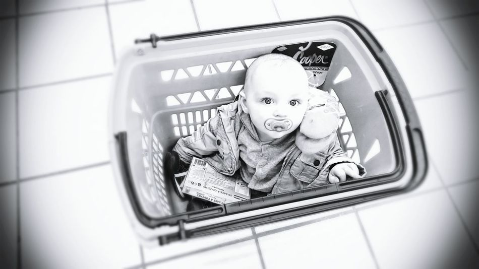 Baby in a Shopping Basket People Photography Blackandwhite Photography Cute Eyes
