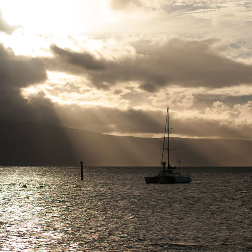 Beauty In Nature Day Horizon Over Water Idyllic Mast Nature Nautical Vessel No People Outdoors Sailboat Sailing Scenics Sea Sky Sunset Water